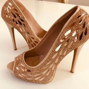 Rose Gold Open Toe Crystal Heels